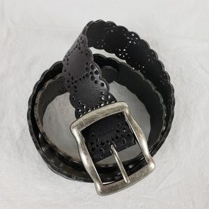 Fossil Black Leather Belt Sz M | Scalloped Edge
